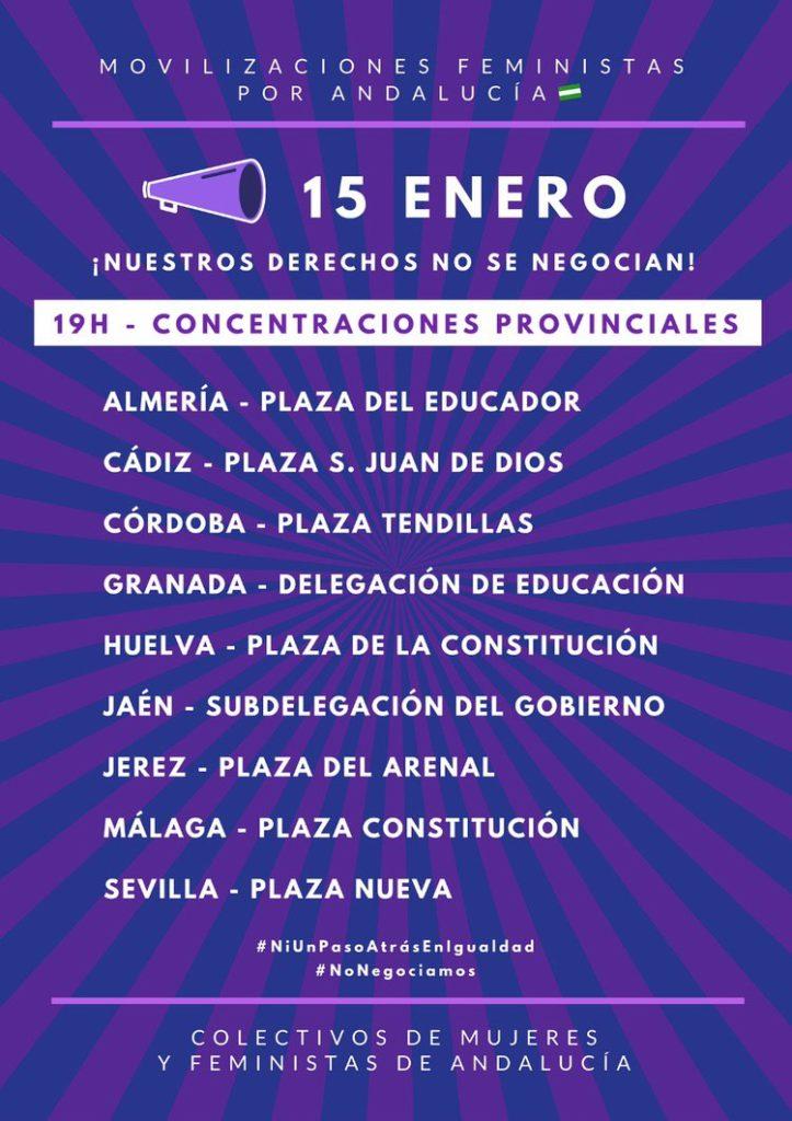 Convocatoria 15 E movimiento feminista andaluz. Ni un paso atrás en Igualdad